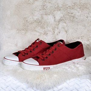 Levi's size 12 Men's Red Canvas Lo Top Sneakers